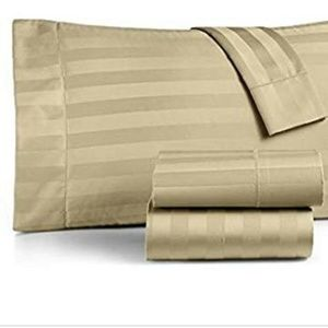 Charter Club QUEEN Sheet Set Taupe Damask Stripe